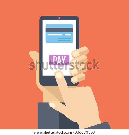 Mobile payment. Hand holds smartphone with online banking and touch pay button. Flat design concept for web banners, web sites, printed materials, infographics. Creative flat illustration - stock photo