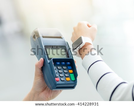 Mobile payment, NFC technology - stock photo