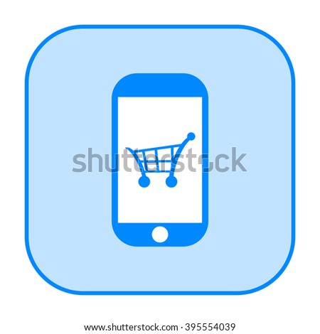 Mobile payment or online shopping icon with smart phone and shopping cart - stock photo