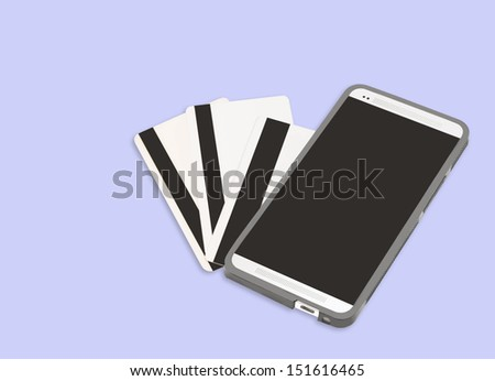 Mobile payment technology for e-commerce. Cellphone and the back of 3 plastic credit or debit cards with black magnetic stripe. Horizontal photo. Isolated on a blue background. - stock photo
