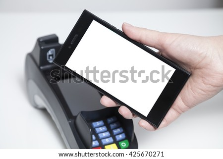 Mobile Payment with whitespace on phone - stock photo
