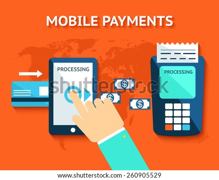 Mobile payments and near field communication. Transaction and paypass and NFC - stock photo