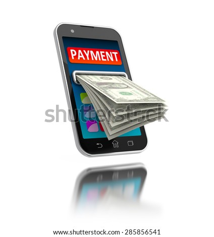 Mobile payments concept illustration. Modern smartphone with money on white. - stock photo
