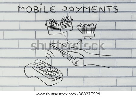 mobile payments, customer using near field communication via smartphone at pos