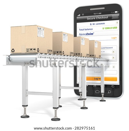Mobile Payments. Industrial Conveyor with cardboard Boxes connected to Smartphone. Checkout page. - stock photo