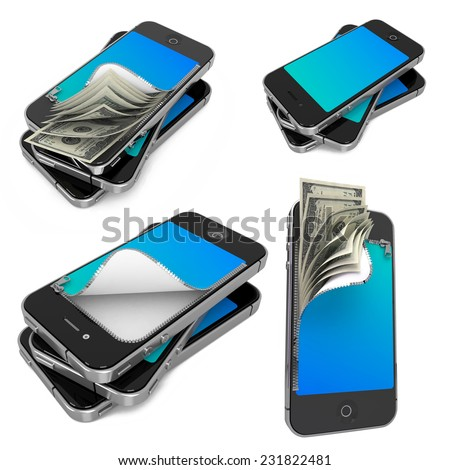 Mobile Payments- Set of 3D Illustrations on Isolated Background. - stock photo
