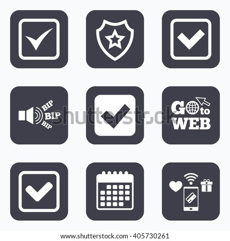 Mobile payments, wifi and calendar icons. Check icons. Checkbox confirm squares sign symbols. Go to web symbol. - stock photo