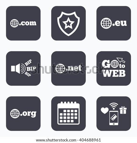 Mobile payments, wifi and calendar icons. Top-level internet domain icons. Com, Eu, Net and Org symbols with globe. Unique DNS names. Go to web symbol. - stock photo