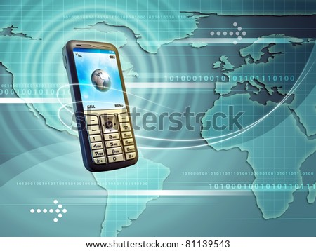 Mobile phone allows you to connect with the whole world. Digital illustration. - stock photo
