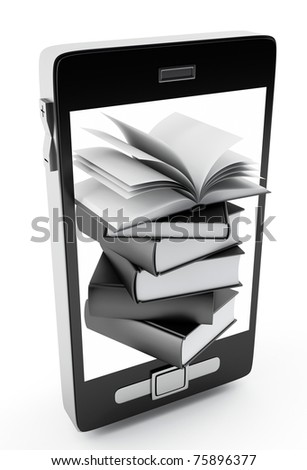 mobile phone and books - stock photo