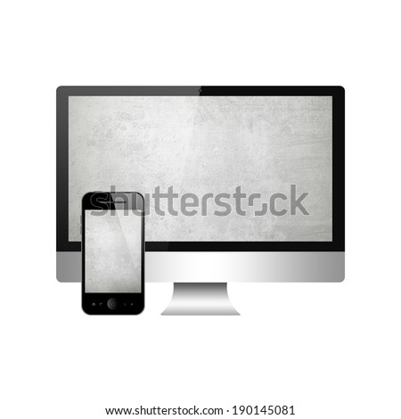 Mobile phone and computer  - stock photo