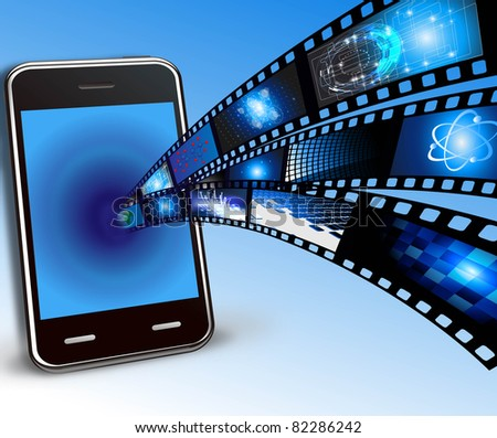 mobile phone and films - stock photo
