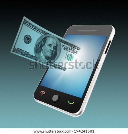 mobile phone and flying money - stock photo