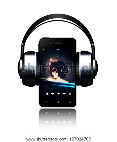 mobile phone and headphones with music listening woman on touch screen over white - stock photo