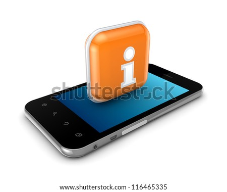 Mobile phone and icon with info symbol.Isolated on white background.3d rendered.