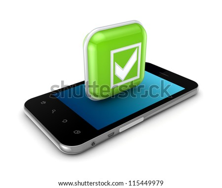 Mobile phone and icon with symbol of tick mark.Isolated on white background.3d rendered.