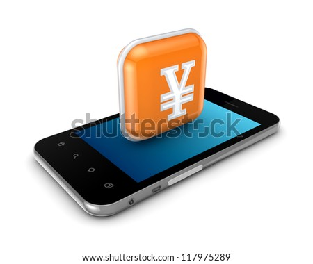 Mobile phone and icon with yen symbol.Isolated on white background.3d rendered. - stock photo
