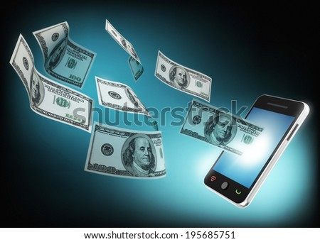 mobile phone and money concept - stock photo