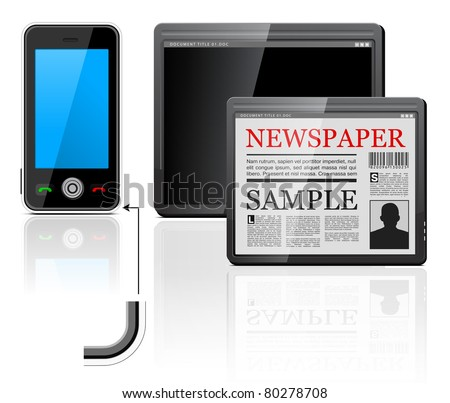 mobile phone and tablet computer icons on white - stock photo