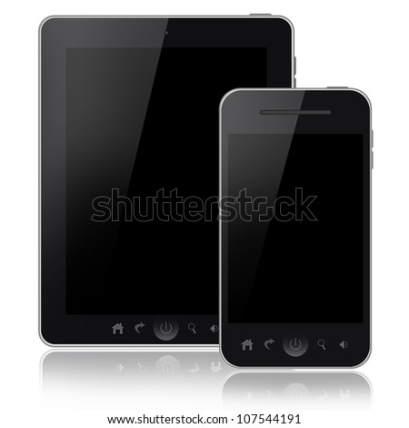 Mobile phone and tablet pc isolated on white background - stock photo