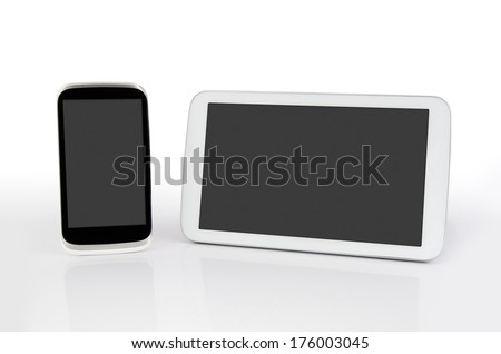 Mobile phone and tablet with blank screen. Modern flat devices with reflection background - stock photo