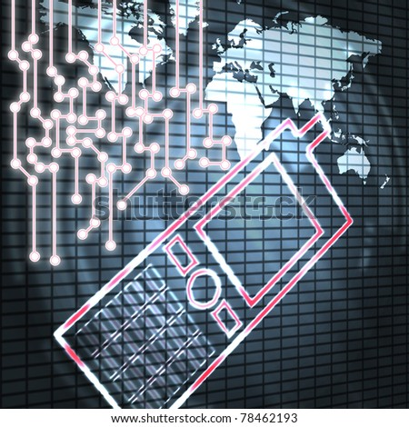 mobile phone and world modern abstract illustration - stock photo