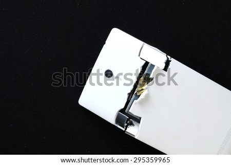 Mobile phone broken condition represent the communication technology concept related idea. - stock photo