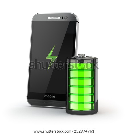 Mobile phone charging concept. Smartphone and battery charge indicator. 3d - stock photo
