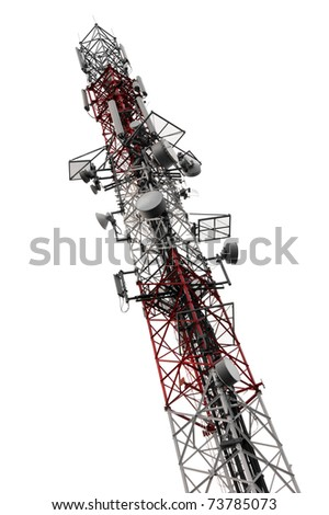 Mobile phone communication antenna tower isolated on white - stock photo