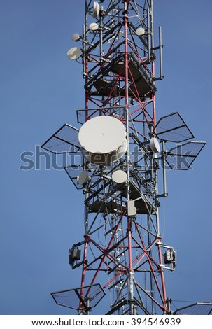 mobile phone communication repeater antenna - stock photo