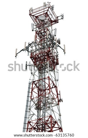 Mobile phone communication repeater antenna tower - stock photo