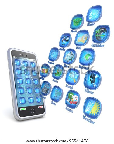 Mobile phone 3d applications isolated on white - stock photo