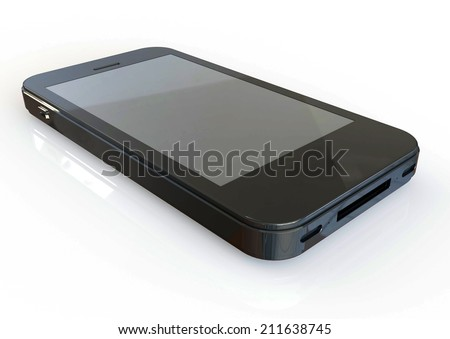 Mobile phone displaying a blank screen. 3D
