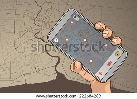 Mobile Phone GPS Navigation in hand on map background - stock photo