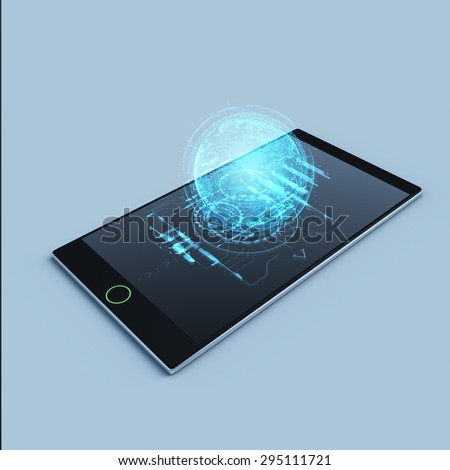 Mobile Phone Grey Background 3d Hologram