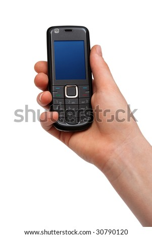 mobile phone in a hand on a white background