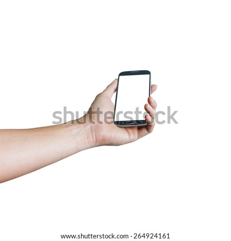mobile phone in hand - stock photo