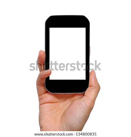 Mobile phone in hand,Isolated on white background - stock photo