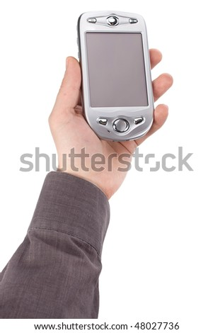 mobile phone in hand isolated on white background - stock photo