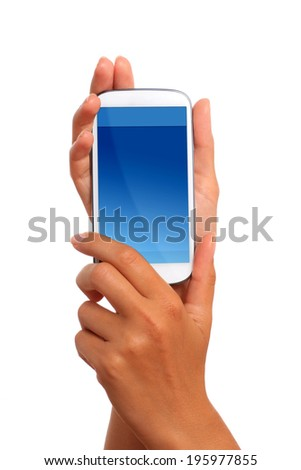 Mobile phone in hand isolated over white.