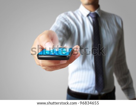 Mobile phone in hands - stock photo