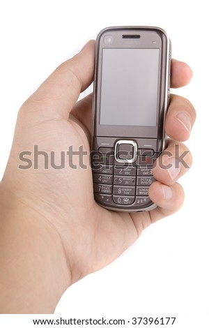 Mobile phone in man's hand isolated on white