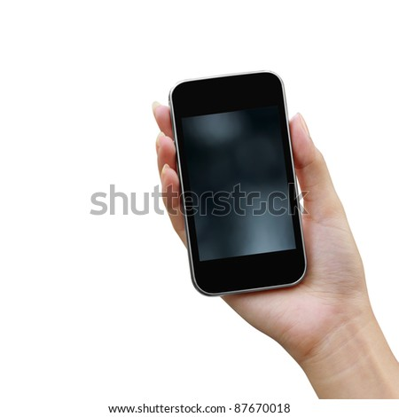 Mobile phone in the hand isolated on white background - stock photo