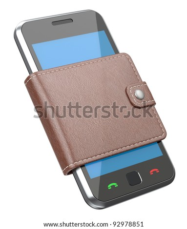 Mobile phone in the wallet - stock photo