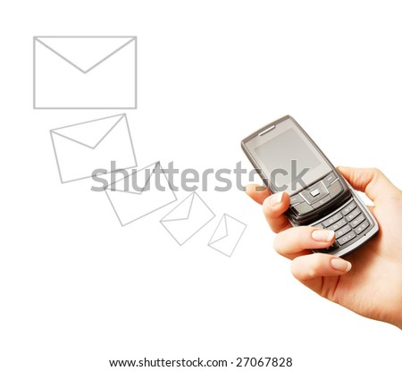 Mobile phone in woman hand. Sending message. Isolated on white. Closeup. - stock photo