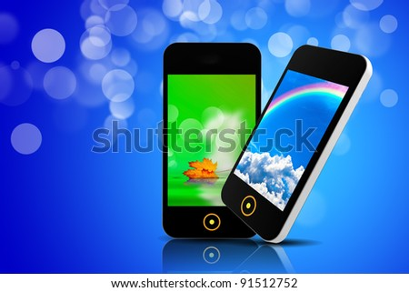 Mobile phone isolated on a colored bokeh background - stock photo
