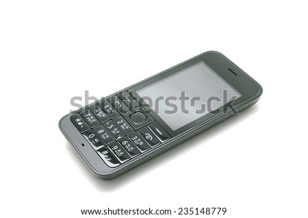 mobile phone isolated On a white background - stock photo