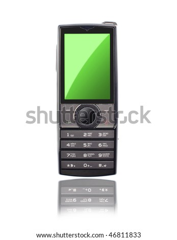 mobile phone isolated on the white - stock photo