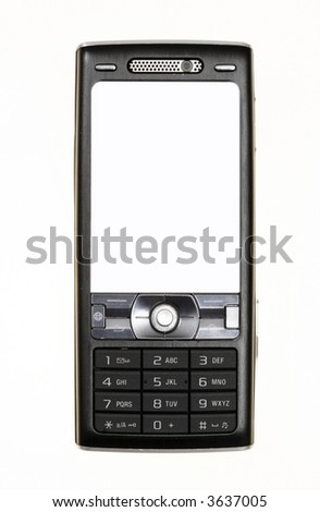 Mobile phone isolated on white - stock photo