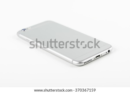 Mobile Phone Mockup On White Background - stock photo